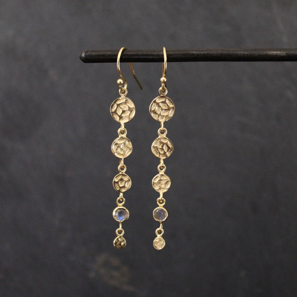 Hammered Disc Drop Earrings with Labradorite