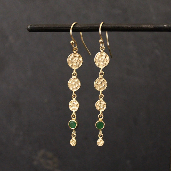 Hammered Disc Drop Earrings with Green Onyx
