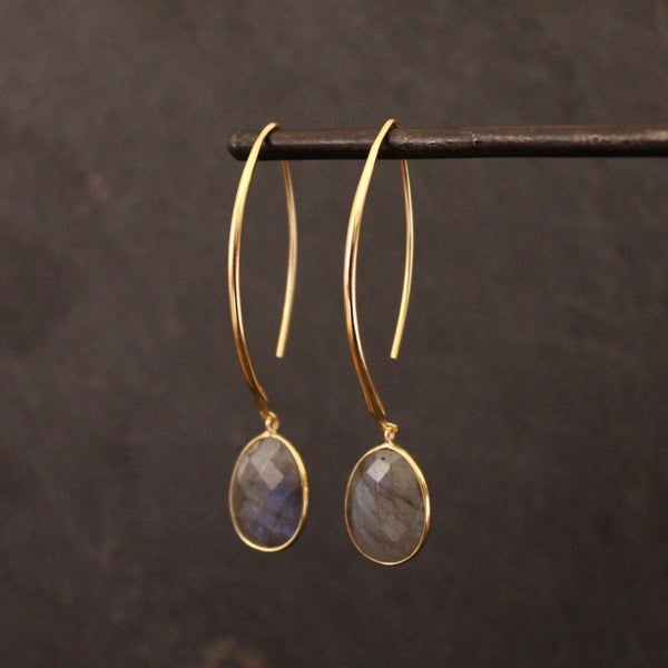 Labradorite and Gold Vermeil Charm Hoop Earrings