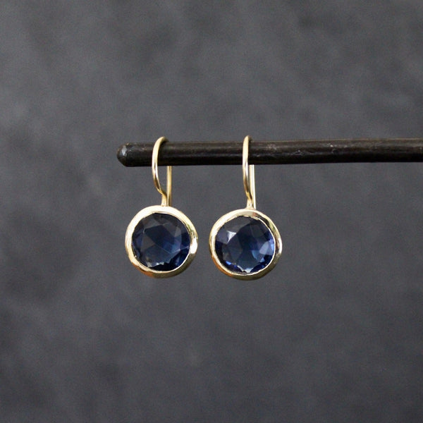 Kyanite and Textured Gold Vermeil Round Earrings