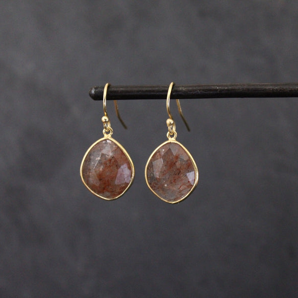 Gold Vermeil and Strawberry Quartz Earrings