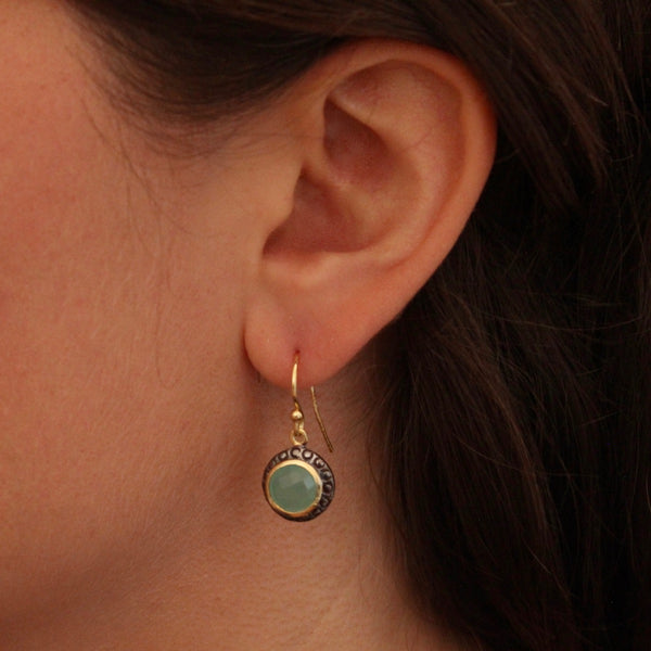 Mixed Metals and Aqua Chalcedony Earrings