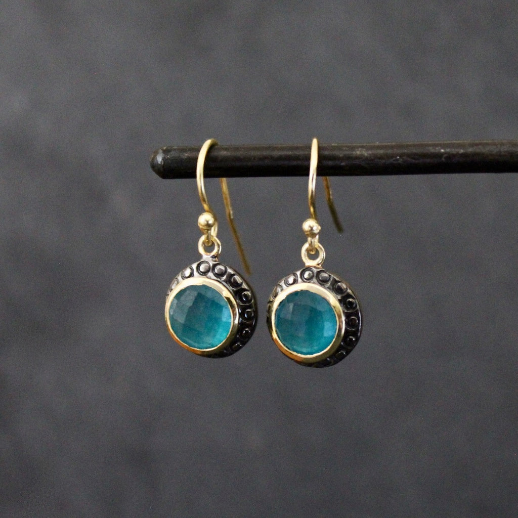 Mixed Metals and Turquoise Quartz Earrings