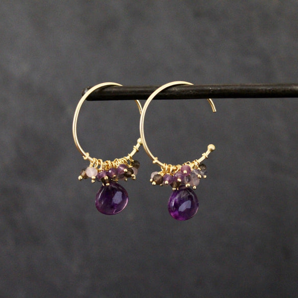 Gold Vermeil and Amethyst Charm Hoops