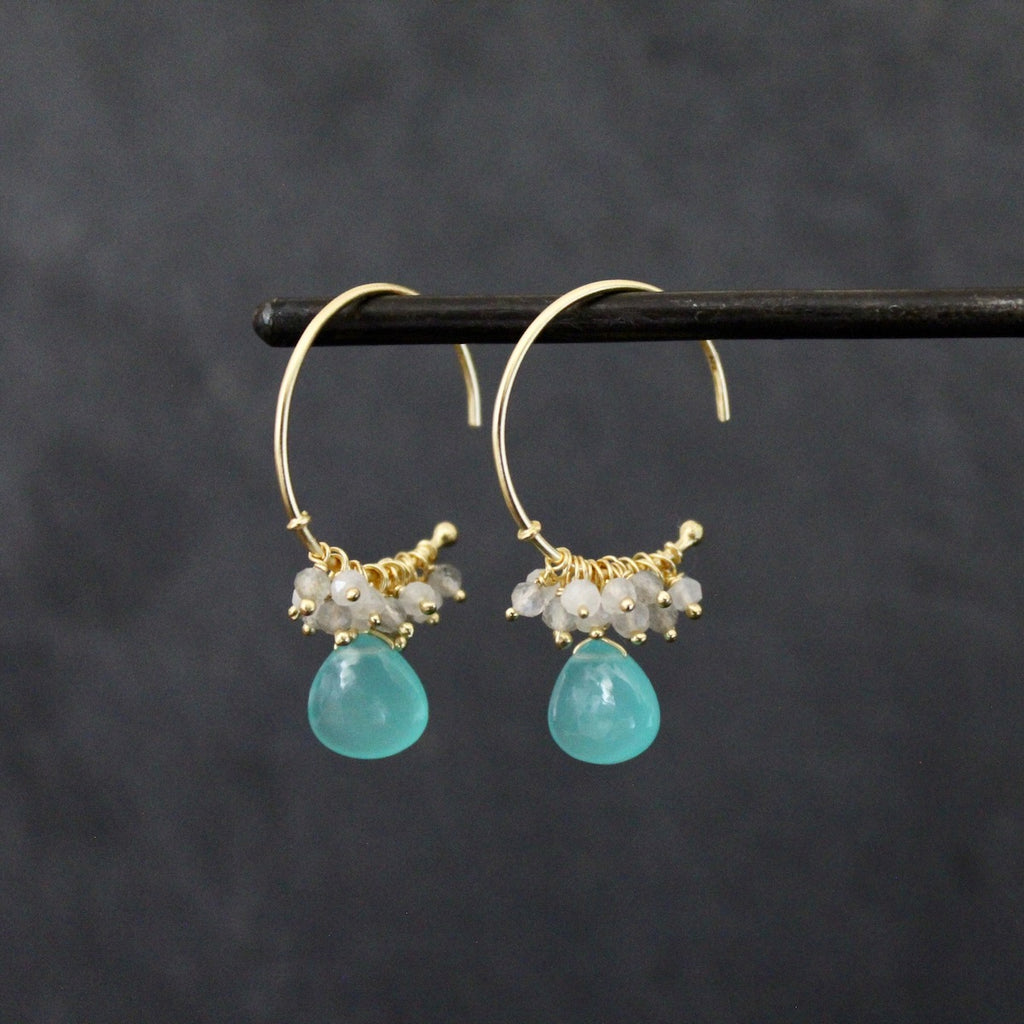 Gold Vermeil and Aqua Chalcedony Charm Hoops