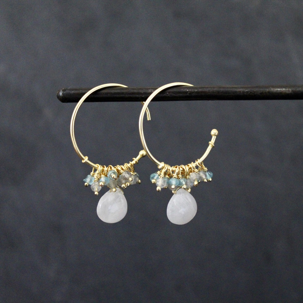 Gold Vermeil and Rainbow Moonstone Charm Hoops