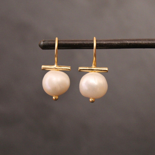 Pearl and Gold Vermeil Bar Drop Earrings