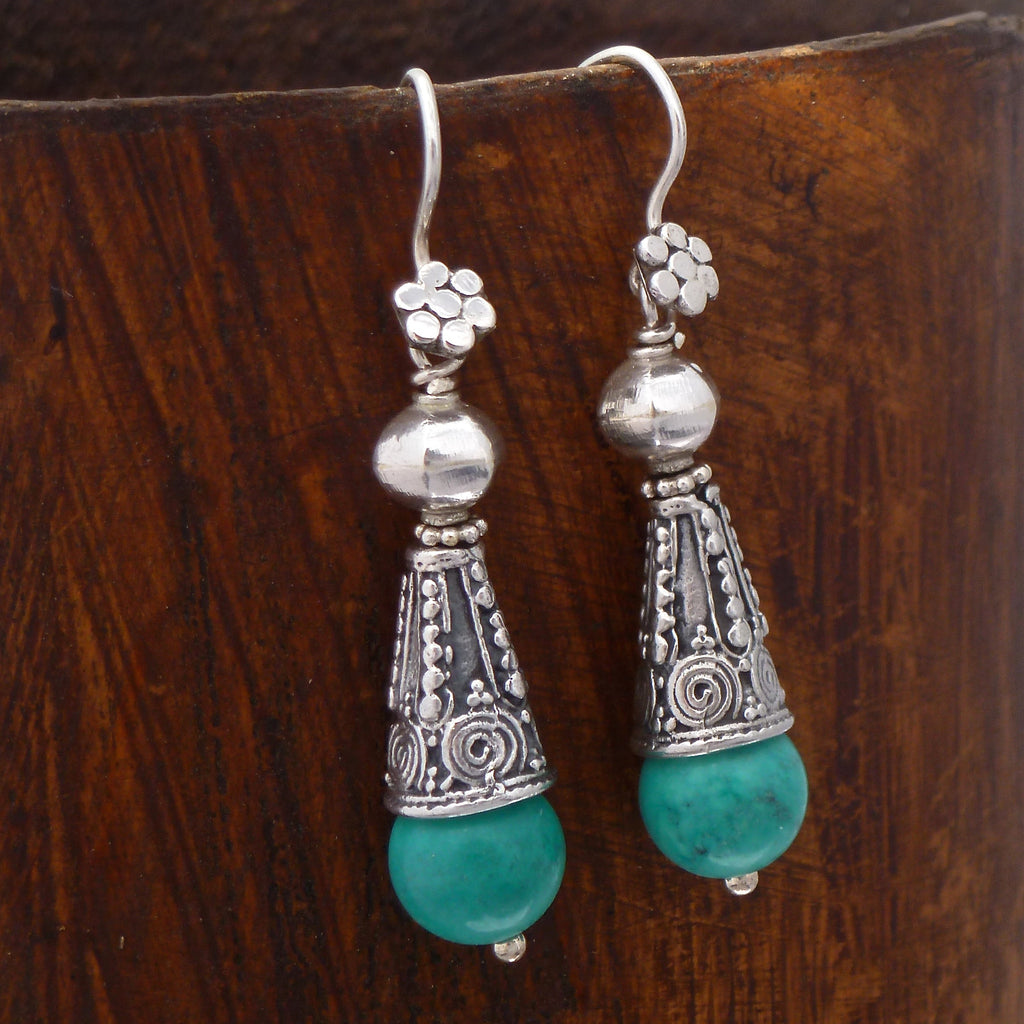 Turquoise and Sterling Silver Flute Earrings - Beyond Biasa