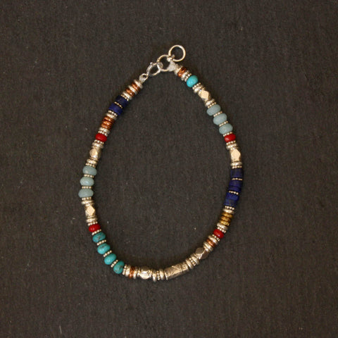 Turquoise, Lapis Lazuli, Amazonite and Coral Bracelet with Sterling Silver Copper and Brass