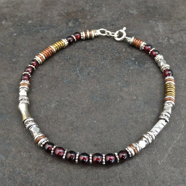 Garnet Bracelet with Sterling Silver Copper and Brass - Beyond Biasa