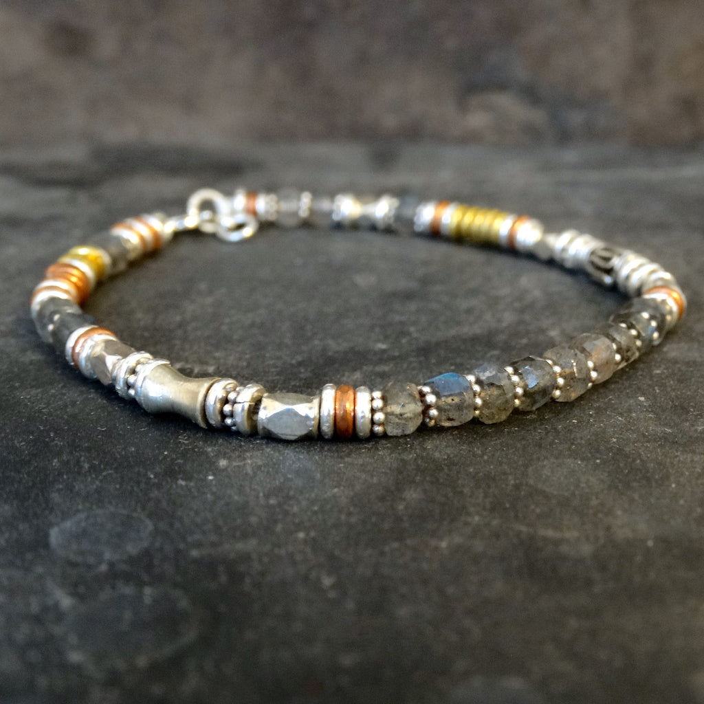 Labradorite Bracelet with Sterling Silver Copper and Brass - Beyond Biasa