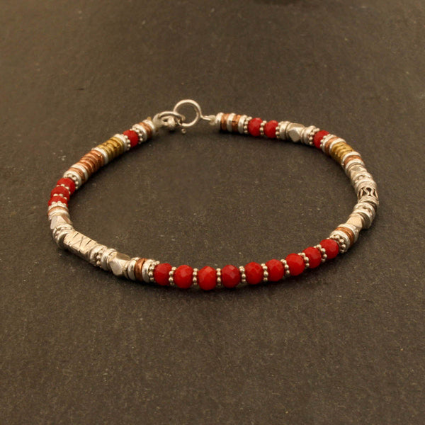 Coral Bead Bracelet with Sterling Silver Copper and Brass