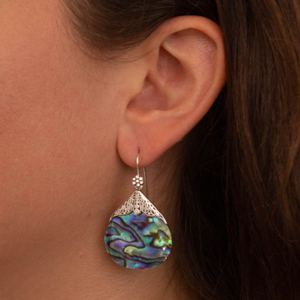 Abalone and Sterling Silver Filigree Drop Earrings