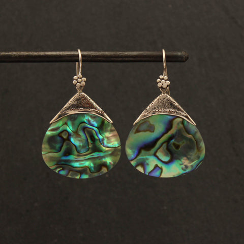 Abalone and Silver Granulation Drop Earrings