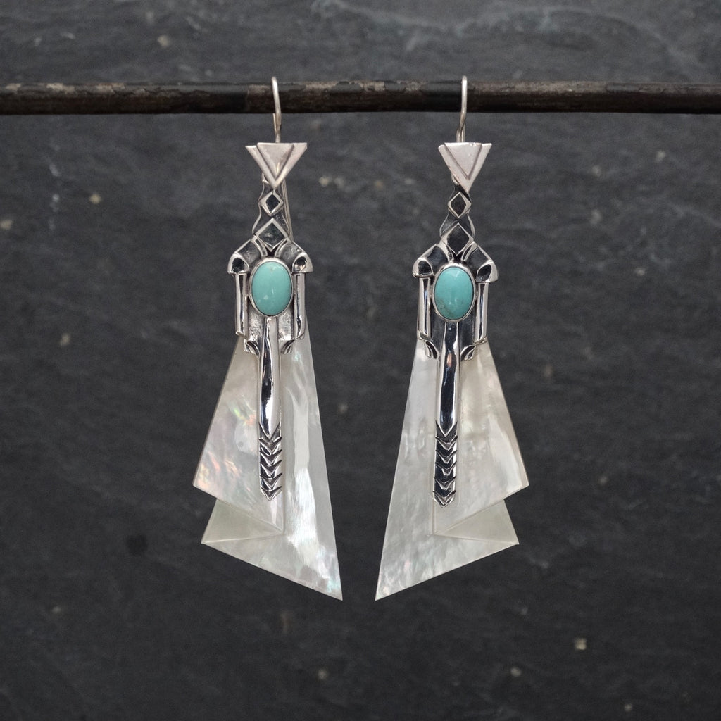 Mother of Pearl and Turquoise Art Deco Earrings - Beyond Biasa