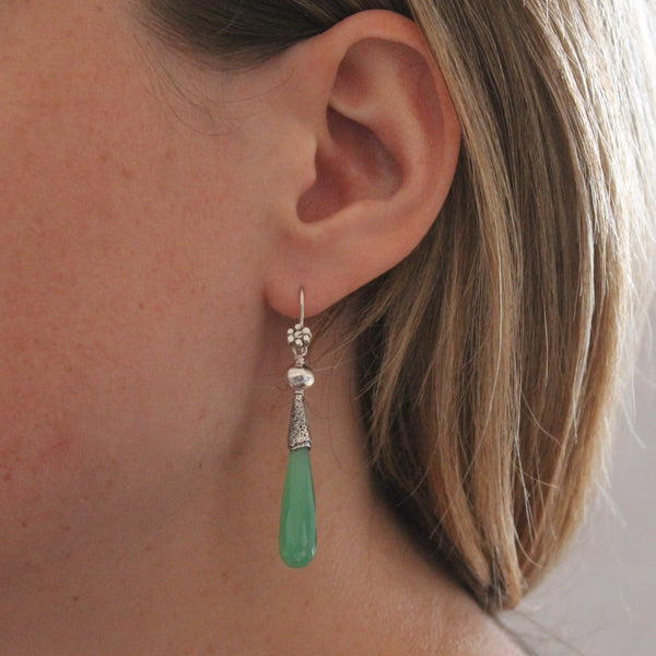Chrysoprase and Silver Granulation Earrings