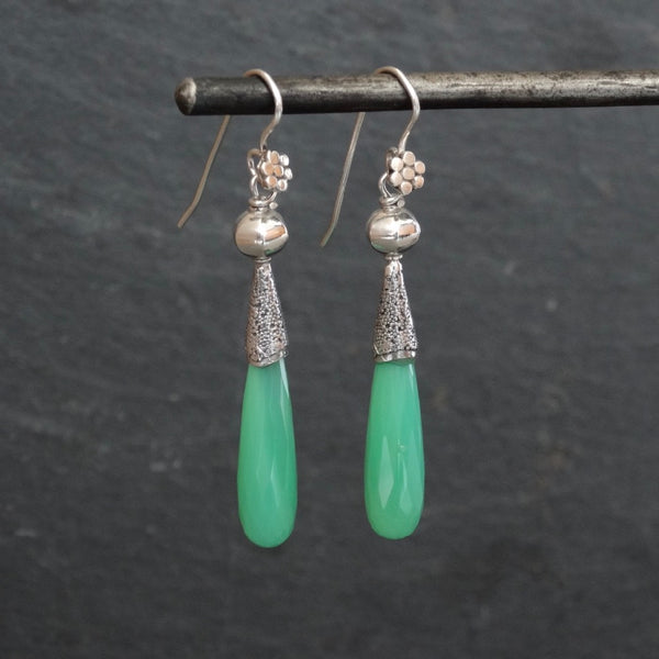 Chrysoprase and Silver Granulation Earrings - Beyond Biasa