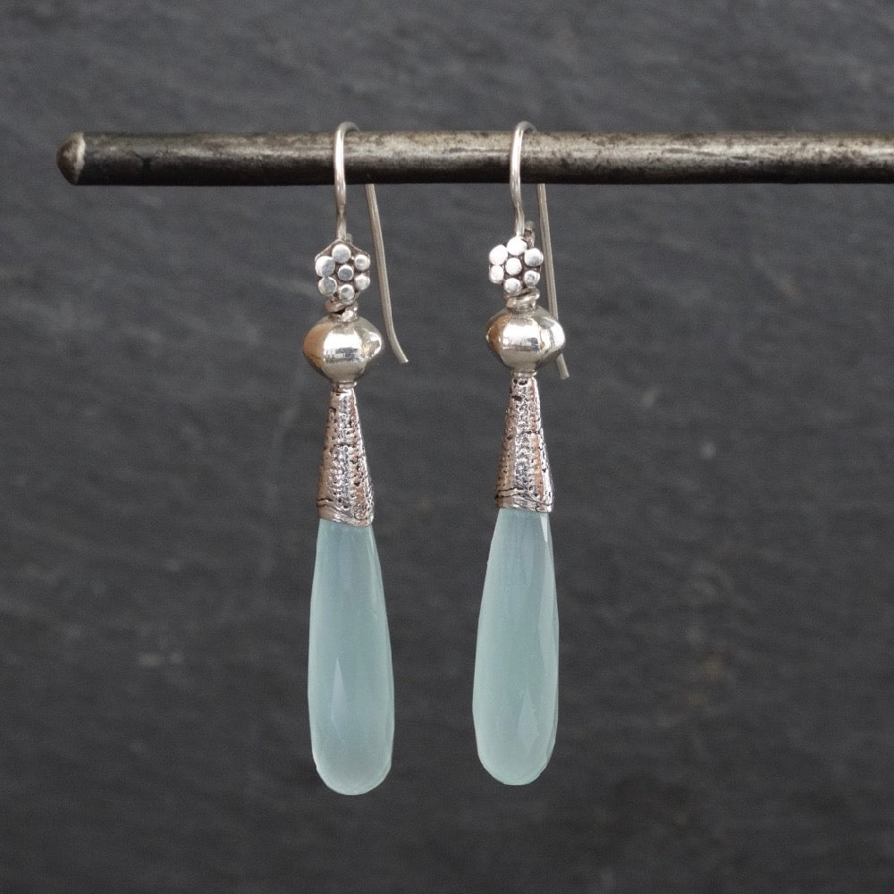Aqua Chalcedony and Silver Granulation Earrings - Beyond Biasa