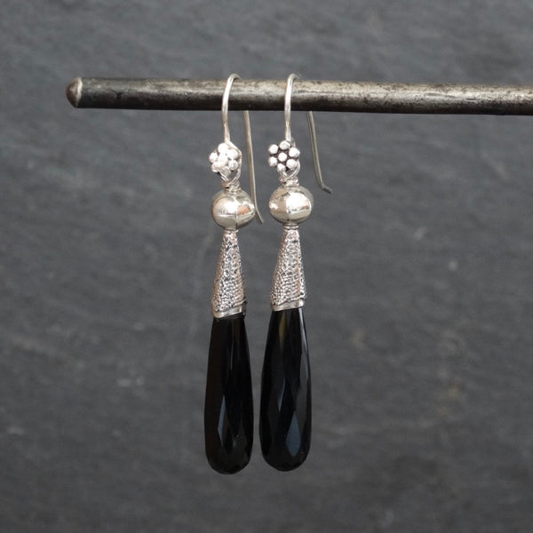 Black Onyx and Silver Granulation Earrings - Beyond Biasa