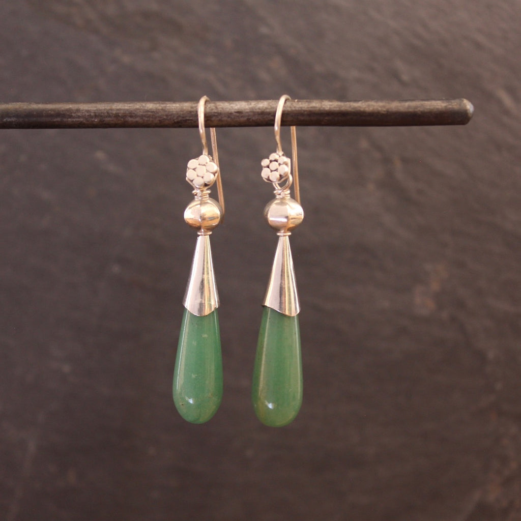 Jade and Silver Flute Earrings