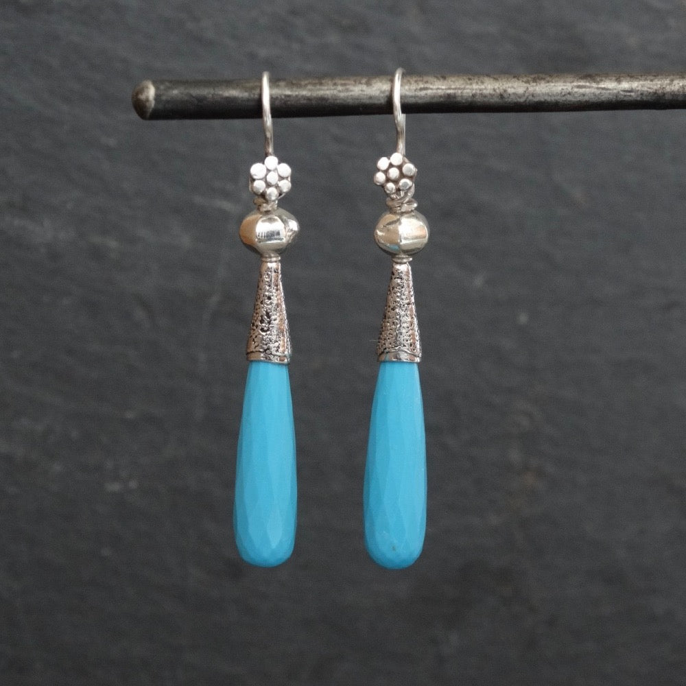 Faceted Turquoise and Silver Granulation Earrings - Beyond Biasa