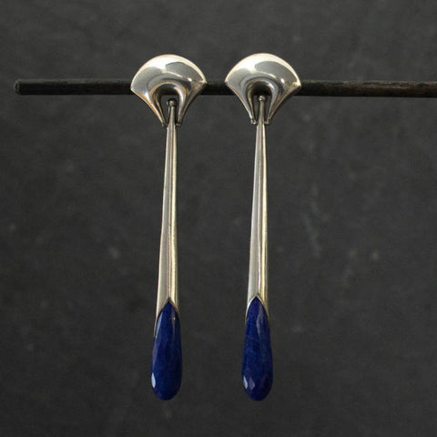 Lapis Lazuli and Silver Deco Earrings