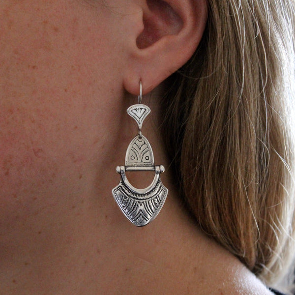 Engraved Sterling Silver 'Tuareg' Earrings