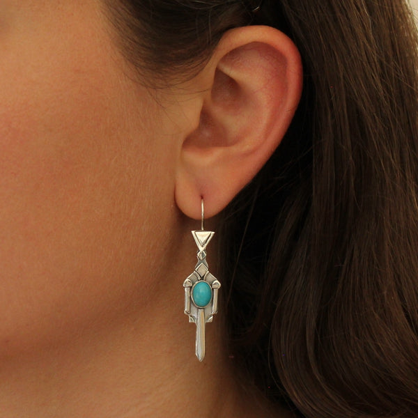 Sterling Silver and Turquoise Art Deco Earrings
