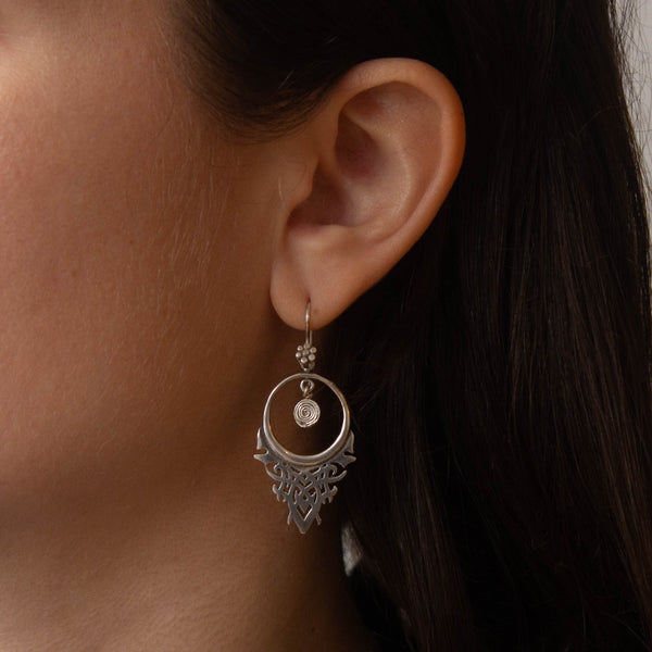 Sterling Silver Art Deco Inspired Drop Earrings