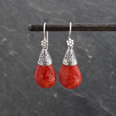 Bamboo Coral and Silver Granulation Teardrop Earrings - Beyond Biasa