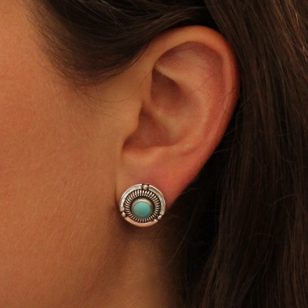 Turquoise and Silver Detailed Stud Earrings