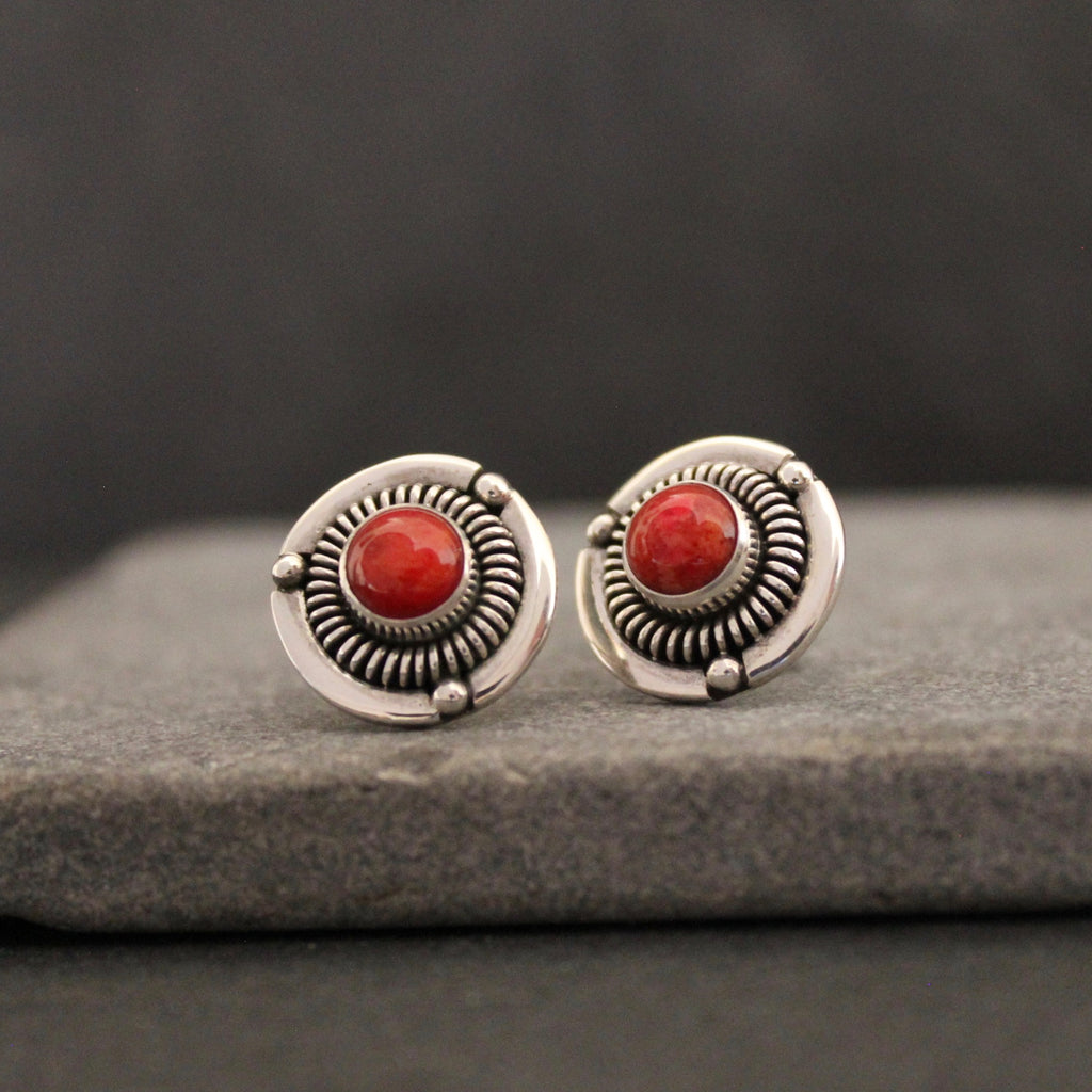 Coral and Silver Detailed Stud Earrings - Beyond Biasa