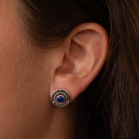Lapis Lazuli and Silver Detailed Stud Earrings