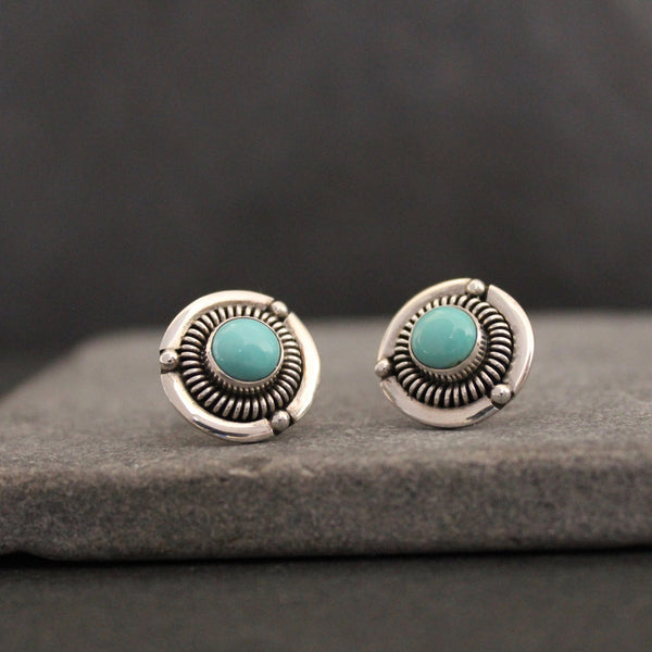 Turquoise and Silver Detailed Stud Earrings - Beyond Biasa