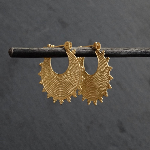 Gold Vermeil Wirework and Dot Detail Hoop Earrings