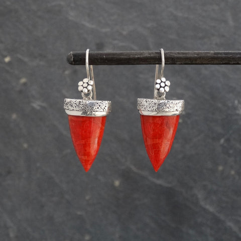 Bamboo Coral and Silver Granulation Geometric Earrings - Beyond Biasa