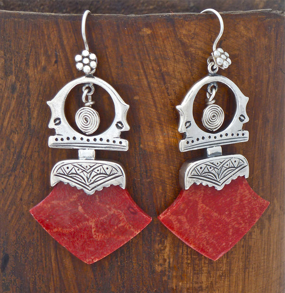 Sterling Silver and Bamboo Coral Tuareg Earrings - Beyond Biasa
