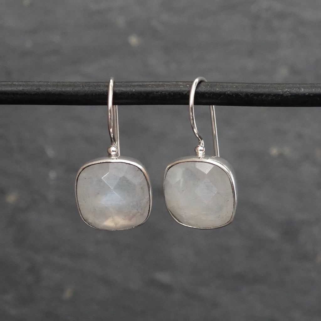 Square Faceted Rainbow Moonstone and Silver Drop Earrings - Beyond Biasa