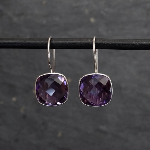Square Amethyst Faceted and Silver Drop Earrings - Beyond Biasa