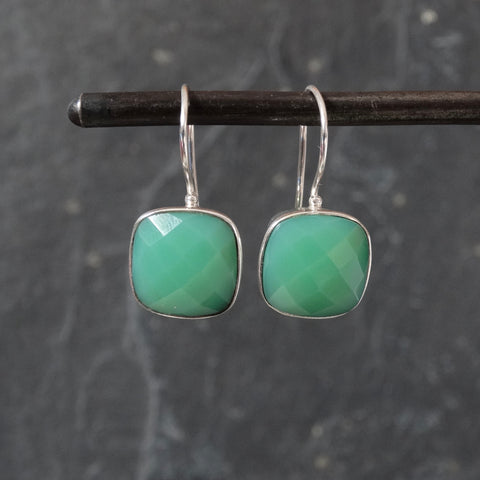Square Faceted Chrysoprase and Silver Drop Earrings