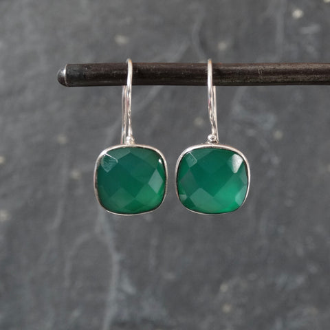 Square Faceted Green Onyx and Silver Drop Earrings