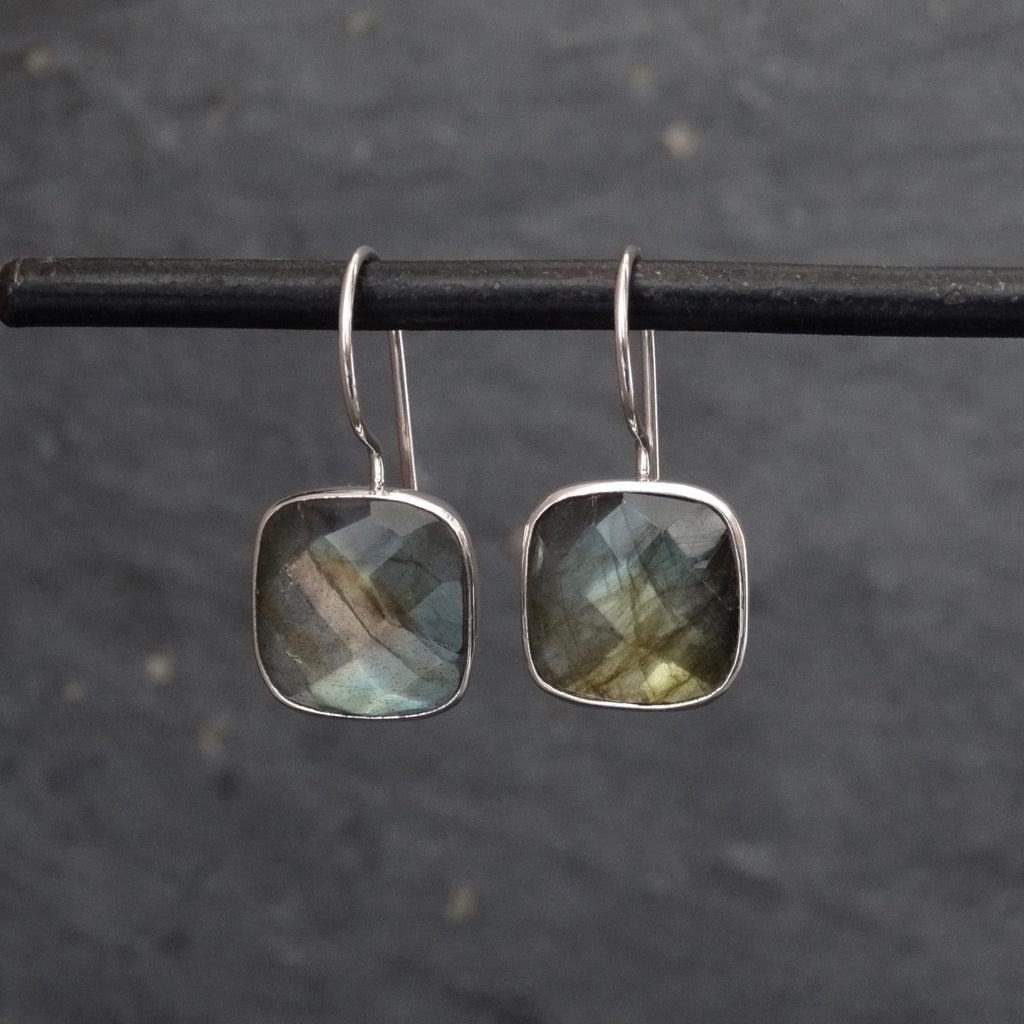 Square Faceted Labradorite and Silver Drop Earrings - Beyond Biasa