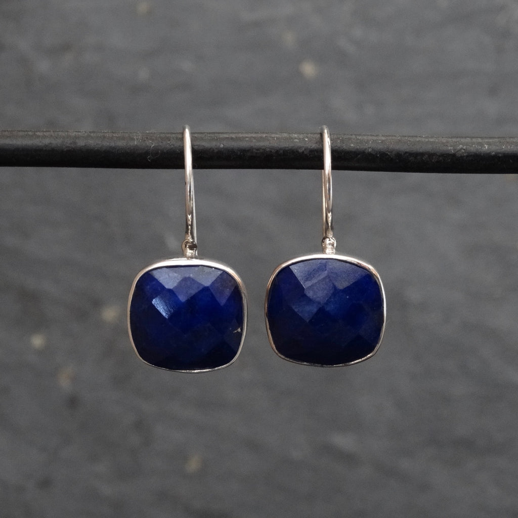 Square Faceted Lapis Lazuli and Silver Drop Earrings - Beyond Biasa