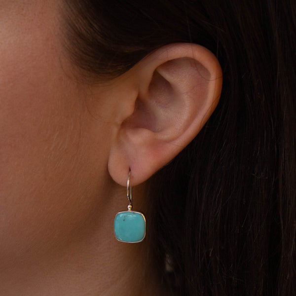 Square Turquoise and Silver Drop Earrings