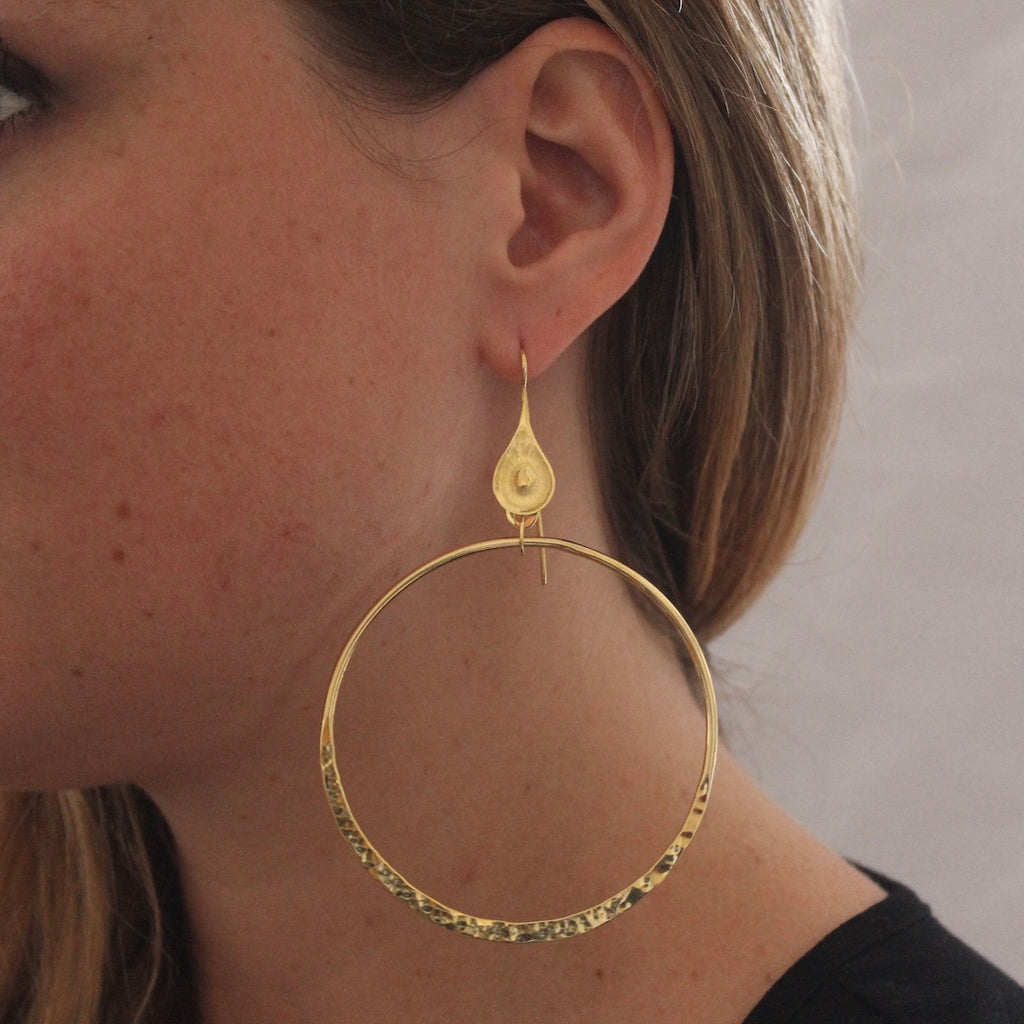 Hammered Gold Vermeil Large Open Circle Earrings
