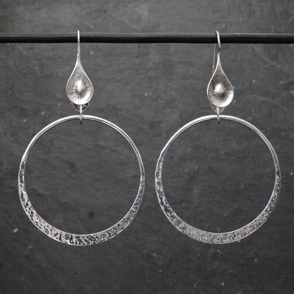 Hammered Silver Open Circle Earrings