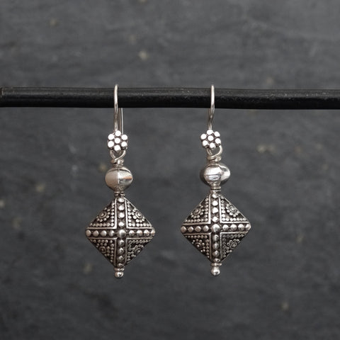 Silver Geometric Granulation Drop Earrings - Beyond Biasa