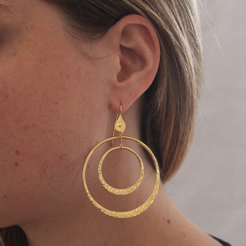 Hammered Gold Vermeil Double Circle Earrings
