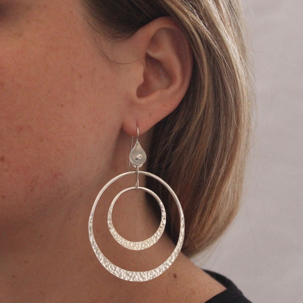 Hammered Sterling Silver Double Circle Earrings