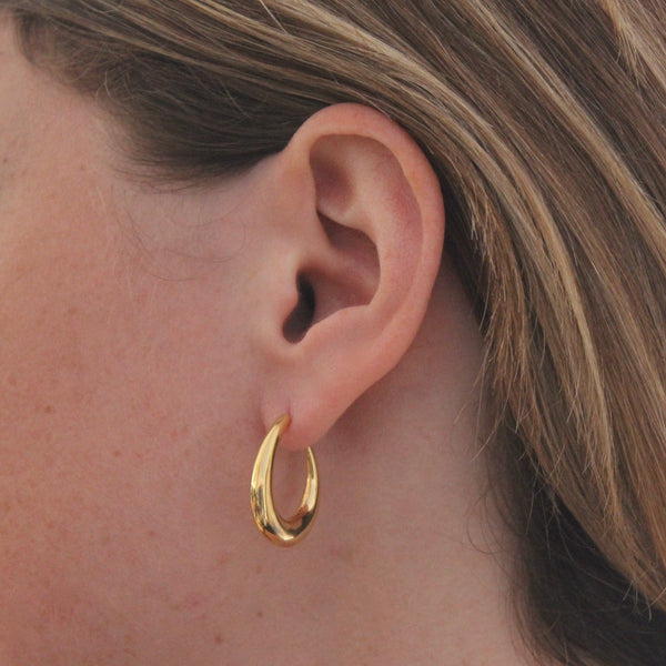 Gold Vermeil Tapered Hoop Earrings